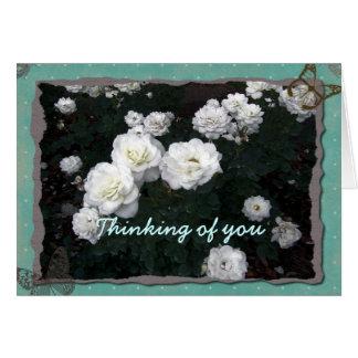 Rosas blancos que piensan en usted tarjeta de feli