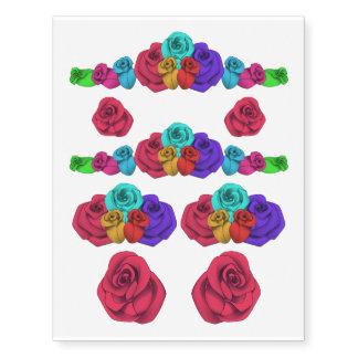 Rosas coloridos tatuajes temporales