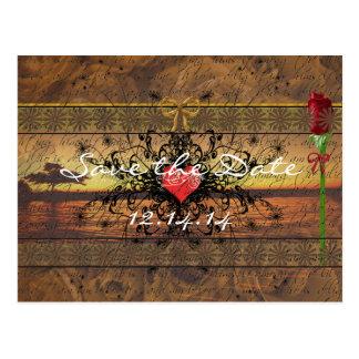 Rosas de antaño de la sepia debajo de las ondas postal