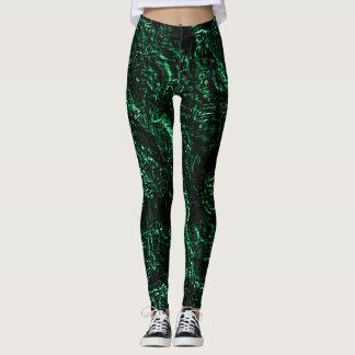Rosas de color verde oscuro del gótico leggings