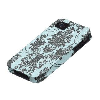 rosas de damasco azules claros y negros vibe iPhone 4 carcasa