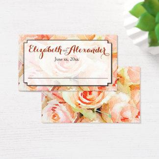 Rosas de la acuarela del melocotón que casan la tarjeta de negocios
