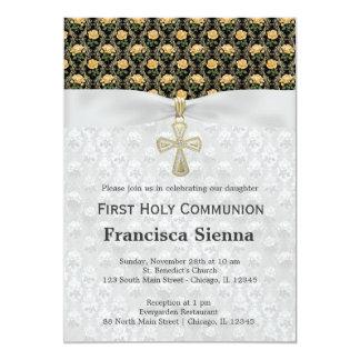 Rosas de la comunión santa en el oro antiguo invitación 12,7 x 17,8 cm