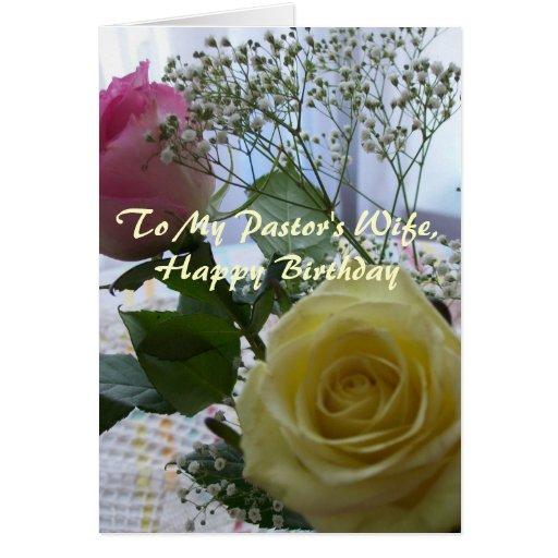 Rosas de la esposa del pastor del feliz cumpleaños tarjetas