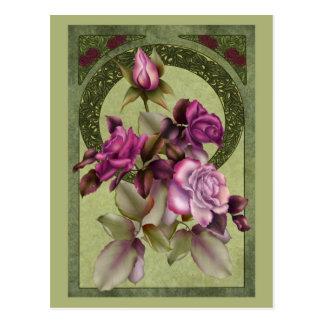 Rosas de Nouveau del arte Postal