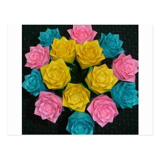 Rosas de Origami Postales