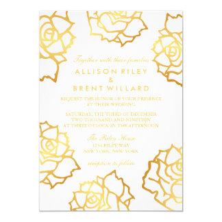Rosas de oro que casan la invitación - blanco
