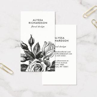 Rosas de té elegantes del vintage el | blanco y tarjeta de negocios