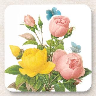 Rosas de té persas del rosa amarillo del vintage posavasos de bebidas