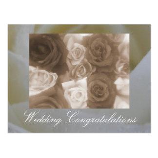 Rosas del boda del vintage postal