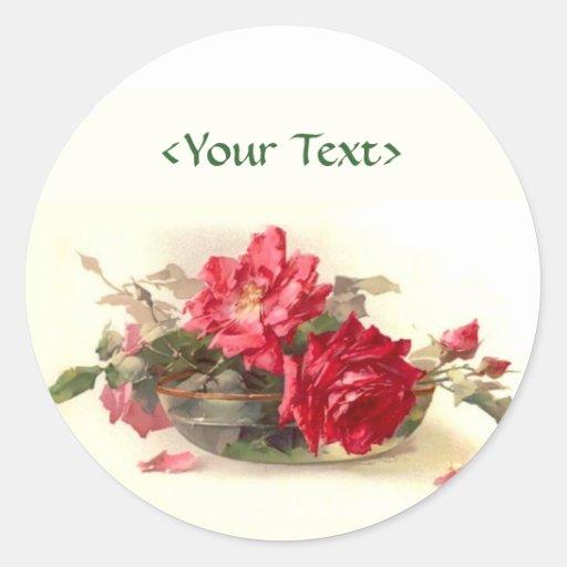 Rosas del bol de vidrio personalizar etiqueta redonda - Bol de vidrio ...