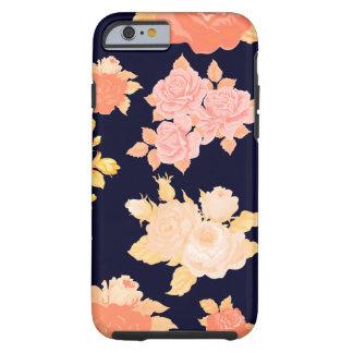 Rosas del coral y de la mostaza en la marina de funda resistente iPhone 6