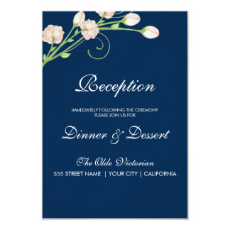 Rosas del jardín del vintage en el azul - tarjeta invitación 8,9 x 12,7 cm