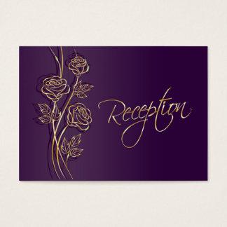 Rosas del oro en la recepción nupcial púrpura tarjeta de visita