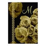Rosas del ORO y invitaciones del boda del cordón Invitación 12,7 X 17,8 Cm
