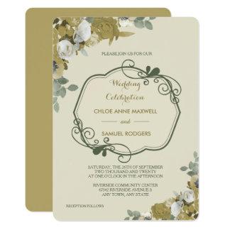 Rosas del otoño en la invitación del boda del oro