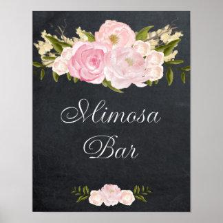rosas del rosa de la muestra de la barra del póster