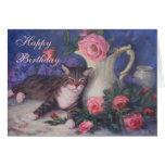 Rosas del rosa del gato del feliz cumpleaños felicitación