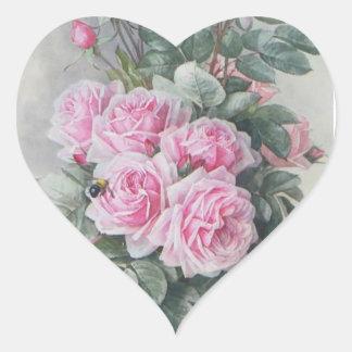 Rosas del rosa del Victorian del vintage Pegatina En Forma De Corazón