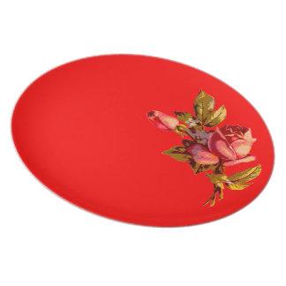 Rosas del Victorian rojos Platos De Comidas