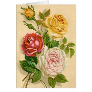 Rosas del vintage, cumpleaños alemán tarjeta de felicitación