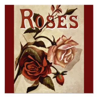 Rosas del vintage invitación 13,3 cm x 13,3cm