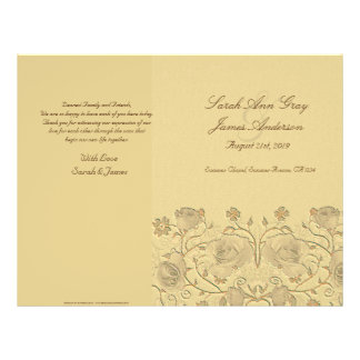Rosas del vintage que casan programa folleto 21,6 x 28 cm