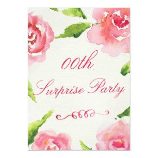 Rosas elegantes de la acuarela de la fiesta de invitación 12,7 x 17,8 cm