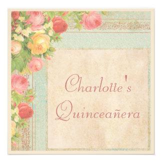 Rosas elegantes del vintage de Quinceañera Anuncio