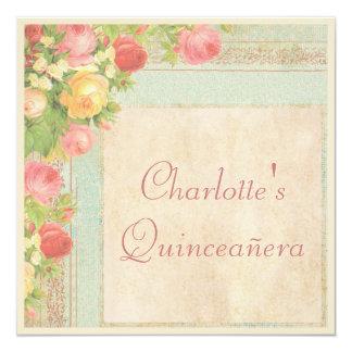 Rosas elegantes del vintage de Quinceañera Invitación 13,3 Cm X 13,3cm