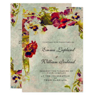 Rosas elegantes lamentables del vintage que casan invitación 12,7 x 17,8 cm