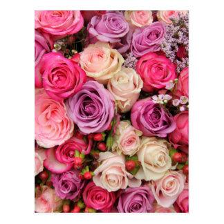 Rosas en colores pastel mezclados por postal