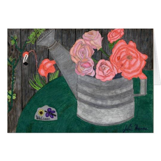 Rosas en la tarjeta de la regadera de Julia Hanna