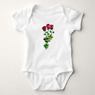 Rosas en mono del bebé body para bebé