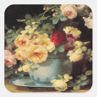 Rosas en un cuenco azul - pegatina