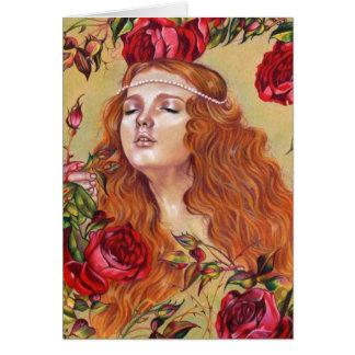 Rosas entre tarjeta floral del arte de la fantasía