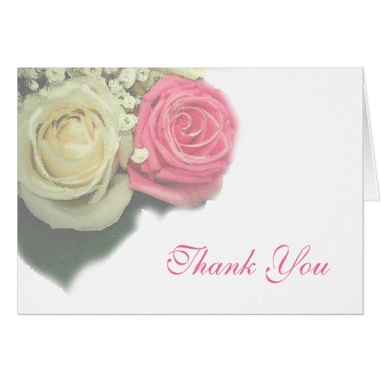 rosas, floral, casandose, gracias cardar, tarjeta pequeña