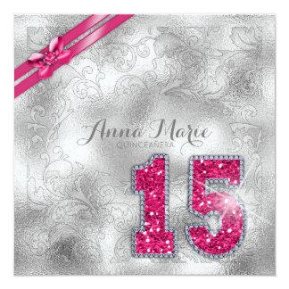 Rosas fuertes de plata ID382 del cumpleaños de Invitación 13,3 Cm X 13,3cm