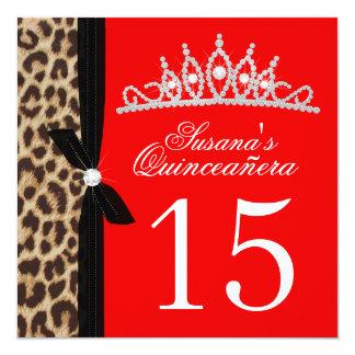 rosas fuertes Quinceanera del leopardo Invitación 13,3 Cm X 13,3cm
