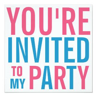 Rosas fuertes y fiesta adolescente azul del tween invitación 13,3 cm x 13,3cm