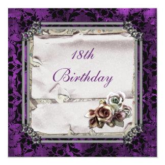 Rosas góticos y cumpleaños del damasco negro invitación 13,3 cm x 13,3cm