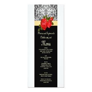 Rosas grises del damasco, rojos negros que casan invitación 10,1 x 23,5 cm