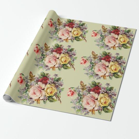 Rosas hermosos del vintage, personalizado papel de regalo