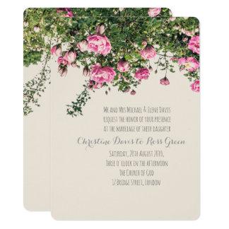 Rosas ingleses rosados, invitación floral del boda