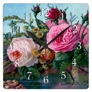 Rosas magníficos y elegantes reloj cuadrado