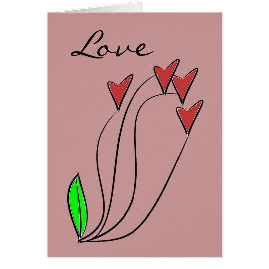 Rosas modernos del corazón del amor tarjeta de felicitación
