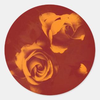 Rosas profundos del tono naranja pegatina redonda
