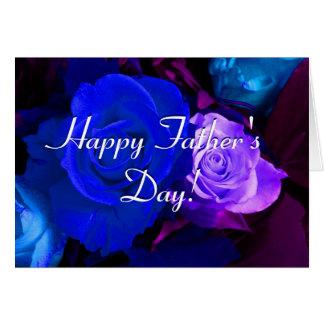 Rosas púrpuras azules felices del día de padre tarjeta de felicitación