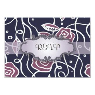 Rosas púrpuras del vitral con el letrero invitación 8,9 x 12,7 cm