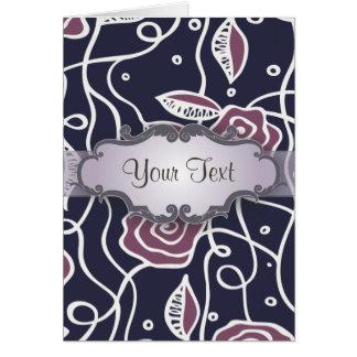 Rosas púrpuras del vitral con el letrero tarjeta pequeña
